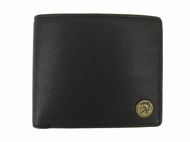 二つ折財布 ブラック レザー 【新品】(X04373PR013T8013)【新品】 | DIESEL 折財布 折り財布 サイフ ブランド財布 ブランドオフ BRANDOFF