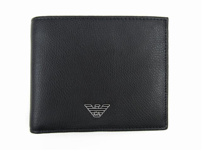 二つ折財布 ブラック レザー 【新品】(YEM122YAQ2E81072)【新品】   EMPORIO ARMANI 折財布 折り財布 サイフ ブランド財布 ブランドオフ BRANDOFF