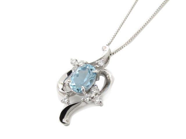【送料無料】 JEWELRY(ジュエリー) アクアマリン ダイヤモンド ネックレス ネックレス K18WG(750) ホワイトゴールド x アクアマリン x ダイヤモンド(0.16ct) 【新品】 | JEWELRY ネックレス K18 18K 18金 ダイヤ ダイヤモンド 新品 ブランドオフ BRANDOFF ボーナス