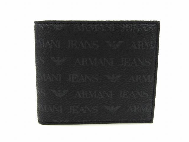 ロゴ 二つ折財布 財布 ブラック PVCコーティングキャンバス (AJ938540CC99600020) | ARMANI 財布 新品 ブランド ブランドオフ BRANDOFF