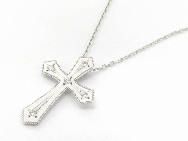 【送料無料】 JEWELRY(ジュエリー) クロス ダイヤモンド ネックレス ネックレス K18WG(750) ホワイトゴールド x ダイヤモンド0.07ct 【新品】   JEWELRY ネックレス K18 18K 18金 ダイヤ ダイヤモンド 新品 ブランドオフ BRANDOFF ボーナス