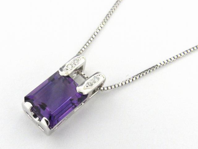 【送料無料】 JEWELRY(ジュエリー) アメジスト ダイヤモンド ネックレス ネックレス K18WG(750) ホワイトゴールド x アメジスト3.12ct x ダイヤモンド0.02ct 【新品】   JEWELRY AM3.12/D0.02 ブランドオフ BRANDOFF ボーナス