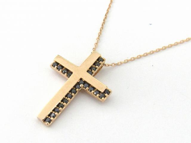 【送料無料】 JEWELRY(ジュエリー) クロス ブラックダイヤモンド ネックレス ネックレス K18PG(750) ピンクゴールド x ダイヤモンド0.15ct 【新品】 | JEWELRY ネックレス K18 18K 18金 ダイヤ ダイヤモンド 新品 ブランドオフ BRANDOFF ボーナス
