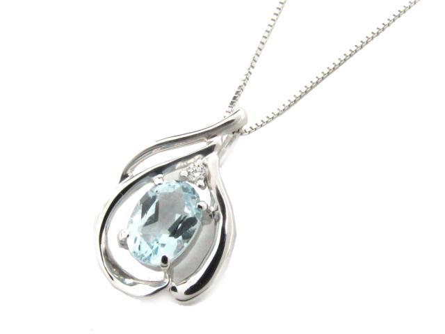 【送料無料】 JEWELRY(ジュエリー) アクアマリン ダイヤモンド ネックレス ネックレス K18WG(750) ホワイトゴールド x アクアマリン x ダイヤモンド(0.02ct) 【新品】 | JEWELRY ネックレス K18 18K 18金 ダイヤ ダイヤモンド 新品 ブランドオフ BRANDOFF ボーナス