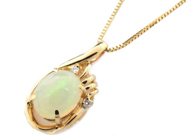 【送料無料】 JEWELRY(ジュエリー) オパール ダイヤモンド ネックレス ネックレス K18YG(750) イエローゴールド x オパール(1.70ct) x ダイヤモンド(0.04ct) 【新品】 | JEWELRY OP1.70/D0.04 ブランドオフ BRANDOFF ボーナス