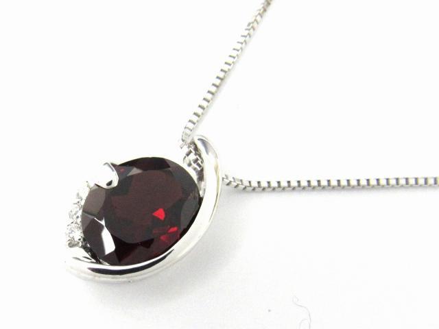 【送料無料】 JEWELRY(ジュエリー) ガーネット ダイヤモンド ネックレス ネックレス レッド K18WG(750) ホワイトゴールド x ガーネット4.90ct x ダイヤモンド0.07ct 【新品】 | JEWELRY G4.90/D0.07 ブランドオフ BRANDOFF ボーナス