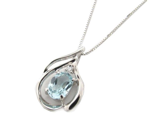 ジュエリー アクアマリン ダイヤモンド ネックレス レディース K18WG(750) ホワイトゴールド x アクアマリン x ダイヤモンド(0.02ct) | JEWELRY ネックレス K18 18K 18金 ダイヤ ダイヤモンド ブランドオフ BRANDOFF ボーナス