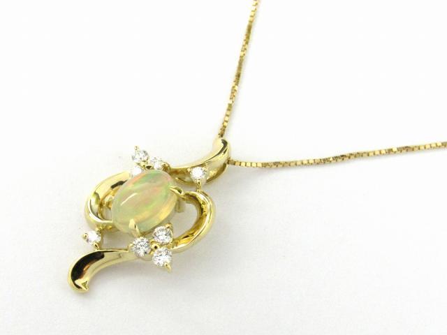 【送料無料】 ジュエリー オパール ダイヤモンド ネックレス レディース K18YG(750) イエローゴールド x オパール x ダイヤモンド0.16ct | JEWELRY ネックレス K18 18K 18金 ダイヤ ダイヤモンド ブランドオフ BRANDOFF ボーナス