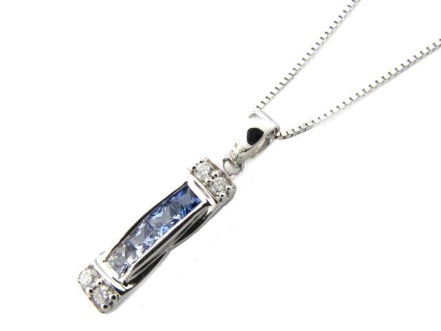 【送料無料】 ジュエリー サファイア ダイヤモンド ネックレス レディース K18WG(750) ホワイトゴールド x サファイア(0.25ct) x ダイヤモンド(0.06ct) | JEWELRY ネックレス K18 18K 18金 ダイヤ ダイヤモンド 新品 ブランドオフ BRANDOFF ボーナス
