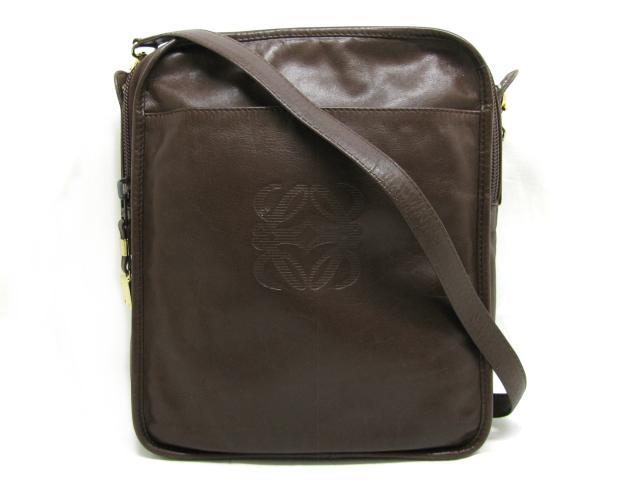 【中古】ロエベ ショルダーバッグ メンズ レディース レザー ブラウン | LOEWE ショルダー 肩掛け バッグ バック BAG 鞄 カバン ブランドバッグ ブランド ブランドオフ BRANDOFF