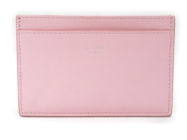 【中古】セリーヌ カードケース レザー ピンク x ブラック | CELINE ケース 美品 ブランド ブランドオフ BRANDOFF