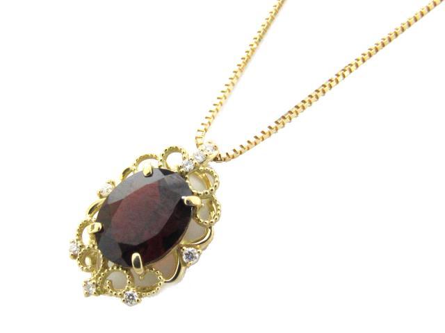 【送料無料】ジュエリー ガーネット ダイヤモンド ネックレス レディース K18YG(750) イエローゴールド x ガーネット(2.60ct) x ダイヤモンド(0.07ct) | JEWELRY ネックレス K18 18K 18金 ダイヤ ダイヤモンド 新品 ブランドオフ BRANDOFF ボーナス