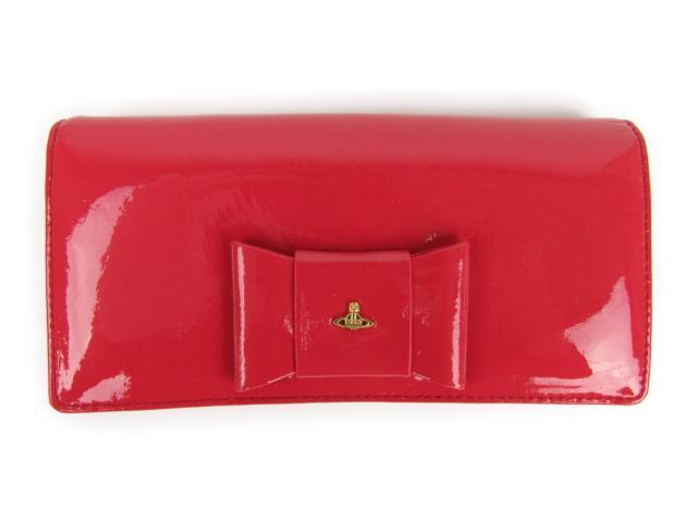 【中古】ヴィヴィアンウエストウッド リボン ZIP長財布 レディース エナメル D.PK BEGONIA(レッド) (1032VFIOCCO) | Vivienne Westwood 長財布 財布 美品 ブランド ブランドオフ BRANDOFF