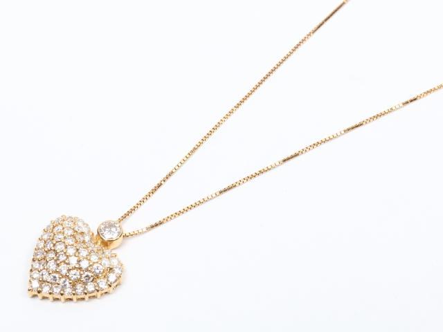【中古】【送料無料】ジュエリー ハートダイヤモンド ネックレス レディース K18YG(750) イエローゴールドx ダイヤモンド(2.00ct) | JEWELRY ネックレス K18 18K 18金 ダイヤ ダイヤモンド 美品 ブランドオフ BRANDOFF 美品 ボーナス