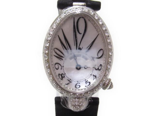 【中古】【送料無料】ブレゲ クイーンオブネイプルズ 腕時計 ウォッチ レディース K18WG(750)ホワイトゴールド x ダイヤモンド×サテンストラップ シルバー (8928BB 5W 844D0D) | Breguet オートマチック 自動巻き WATCH 美品 ブランド ブランドオフ BRANDOFF
