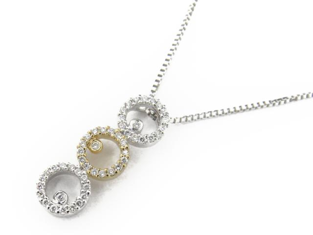 【送料無料】 ジュエリー ダイヤモンド ネックレス レディース K18WG(750) ホワイトゴールド x K18YG(イエローゴールド) x ダイヤモンド0.20ct | JEWELRY ネックレス K18 18K 18金 ダイヤ ダイヤモンド 新品 ブランドオフ BRANDOFF ボーナス