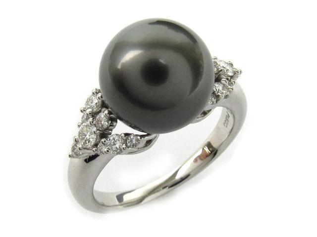 【中古】【送料無料】タサキ ブラックパール ダイヤモンド リング 指輪 レディース PT900 プラチナ x ブラックパール(直径約11mm) x ダイヤモンド(0.37ct)   TASAKI リング ブラックパールリング 美品 ブランド ブランドオフ BRANDOFF