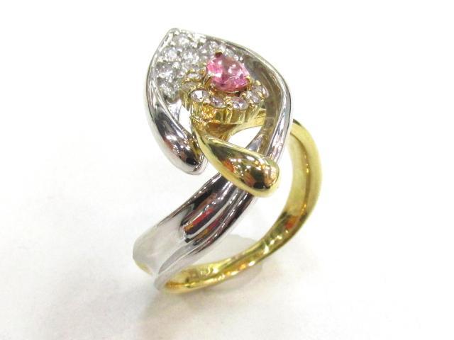【中古】【送料無料】ジュエリー ピンクトルマリンリング ダイヤモンド 指輪 レディース K18YG(750) イエローゴールド×PT900×ピンクトルマリン(0.36)×ダイヤモンド(0.41)   JEWELRY TL0.36/D0.41 ブランドオフ BRANDOFF 美品 ボーナス