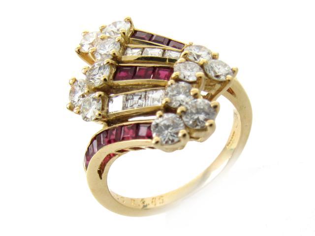 【中古】【送料無料】ジュエリー ルビー ダイヤモンド リング 指輪 レディース K18YG(750) イエローゴールド x ルビー(0.85ct) x ダイヤモンド(1.35ct)   JEWELRY リング リング K18 18K 18金 ダイヤ ダイヤモンド 美品 ブランドオフ BRANDOFF 美品 ボーナス