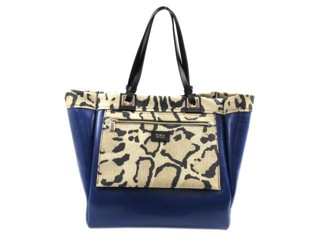 【中古】フルラ トートバッグ レディース レザー ブルー×ブラウン | FURLA トート 肩掛け バッグ バック BAG 鞄 カバン ブランドバッグ 美品 ブランド ブランドオフ BRANDOFF