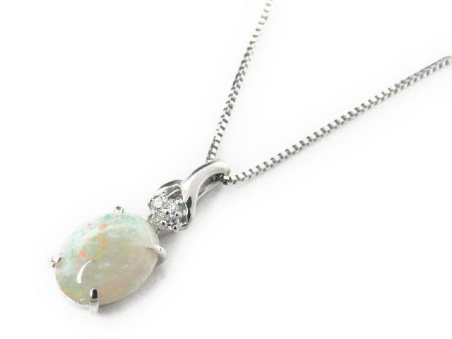 【送料無料】 ジュエリー オパール ダイヤモンド ネックレス レディース K18WG(750) ホワイトゴールド x オパール1.44ct x ダイヤモンド0.05ct | JEWELRY ネックレス K18 18K 18金 ダイヤ ダイヤモンド 新品 ブランドオフ BRANDOFF ボーナス
