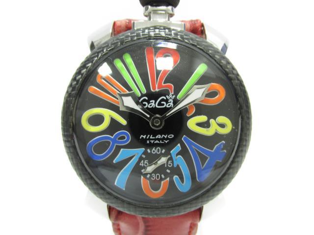 【中古】【送料無料】ガガミラノ マヌアーレ48mm 腕時計 ウォッチ メンズ メンズ ステンレススチール(SS)×カーボンベゼル×レザー (5015S) | GaGa MILANO 手巻き時計 マヌアーレ ブランド ブランドオフ BRANDOFF