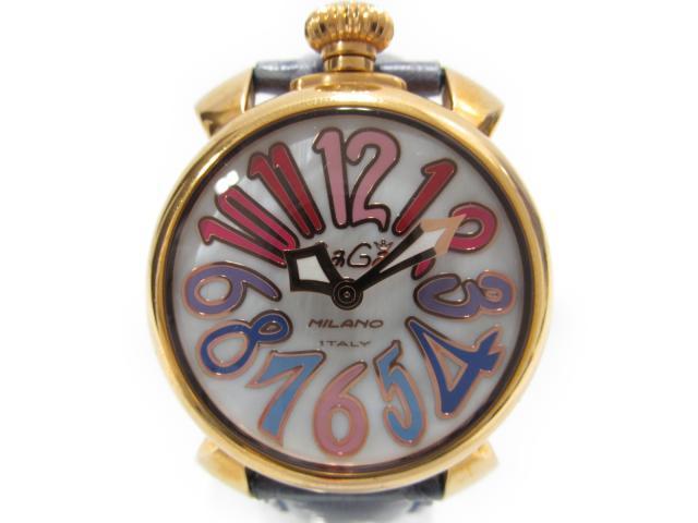 【中古】【送料無料】ガガミラノ マヌアーレ40mm 腕時計 ウォッチ レディース レディース ゴールドコーティング×レザー (5021) | GaGa MILANO クオーツ WATCH ブランド ブランドオフ BRANDOFF