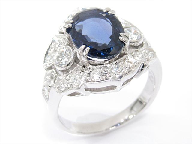 【中古】【送料無料】ジュエリー 非加熱サファイアリング 指輪 レディース PT950 プラチナx非加熱サファイア(3.27ct)xダイヤモンド(0.89ct) | JEWELRY リング リング ダイヤ ダイヤモンド 美品 ブランドオフ BRANDOFF 美品 ボーナス