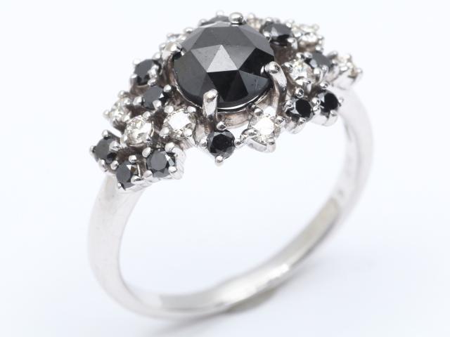 【中古】【送料無料】ジュエリー ブラックダイヤモンド ダイヤモンド リング 指輪 レディース K18WG(750) ホワイトゴールドx ブラックダイヤモンド(1.25ct) x ダイヤモンド(0.55ct)   JEWELRY Ring ダイヤ リング 美品 18K K18 18金 ブランドオフ BRANDOFF 美品 ボーナス