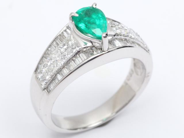 【中古】【送料無料】ジュエリー エメラルド ダイヤモンド リング 指輪 レディース PT900 プラチナ x エメラルド(0.68ct) x ダイヤモンド(0.7ct3) | JEWELRY リング Ring 指輪 アクセサリー ブランドオフ BRANDOFF 美品 ボーナス