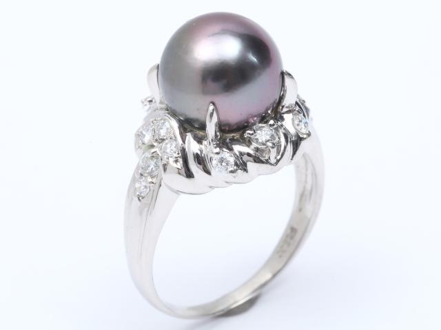 【中古】【送料無料】ジュエリー パール ダイヤモンド リング 指輪 レディース PT900 プラチナ x パール (10.5mm) x ダイヤモンド (0.42ct) | JEWELRY リング リング ダイヤ ダイヤモンド 美品 ブランドオフ BRANDOFF 美品 ボーナス