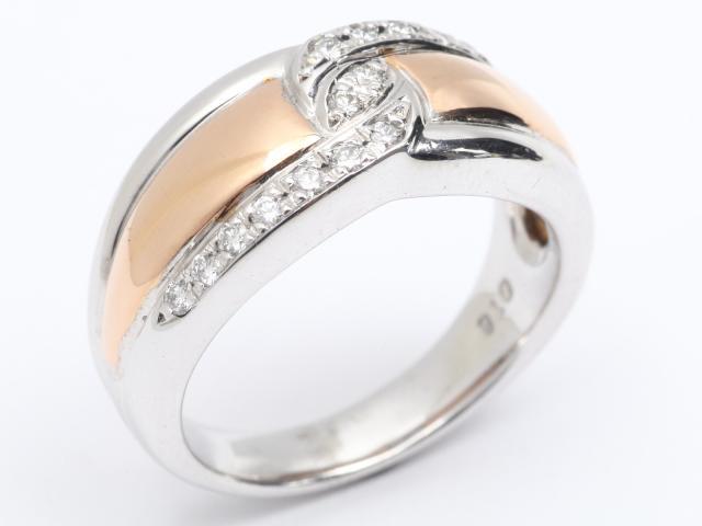 【中古】【送料無料】ジュエリー ダイヤモンド リング 指輪 レディース K18WG(750) ホワイトゴールド x K18PG(750) ピンクゴールド x ダイヤモンド (0.18ct) | JEWELRY リング Ring 指輪 アクセサリー ブランドオフ BRANDOFF 美品 ボーナス