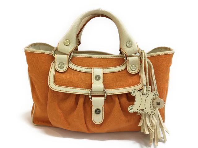 【中古】セリーヌ ブギーバッグ ハンドバッグ レディース キャンバス オレンジ | CELINE ハンドバッグ バッグ バック BAG 鞄 カバン ブランドバッグ ブランド ブランドオフ BRANDOFF