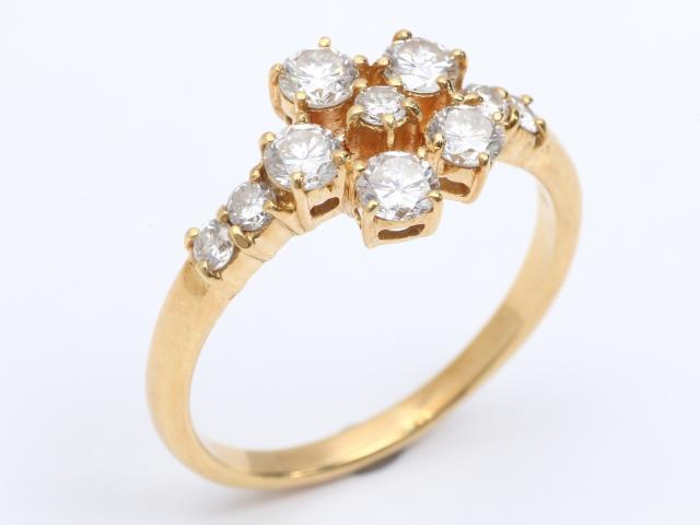 【中古】【送料無料】ジュエリー ダイヤモンド リング 指輪 レディース K18YG(750) イエローゴールドx ダイヤモンド(1.00ct) | JEWELRY リング リング K18 18K 18金 ダイヤ ダイヤモンド 美品 ブランドオフ BRANDOFF 美品 ボーナス