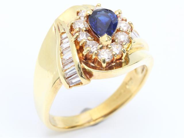 【中古】【送料無料】ジュエリー サファイア ダイヤモンド リング 指輪 レディース K18YG(750) イエローゴールド x サファイア (0.60ct) x ダイヤモンド (0.84ct) | JEWELRY リング Ring 指輪 アクセサリー ブランドオフ BRANDOFF 美品 ボーナス