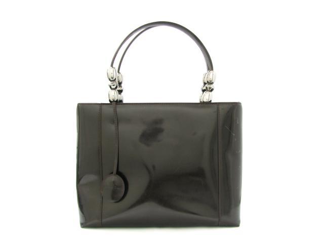 【中古】クリスチャン・ディオール トートバッグ レディース エナメル ダークブラウン | Dior トート 肩掛け バッグ バック BAG 鞄 カバン ブランドバッグ ブランド ブランドオフ BRANDOFF