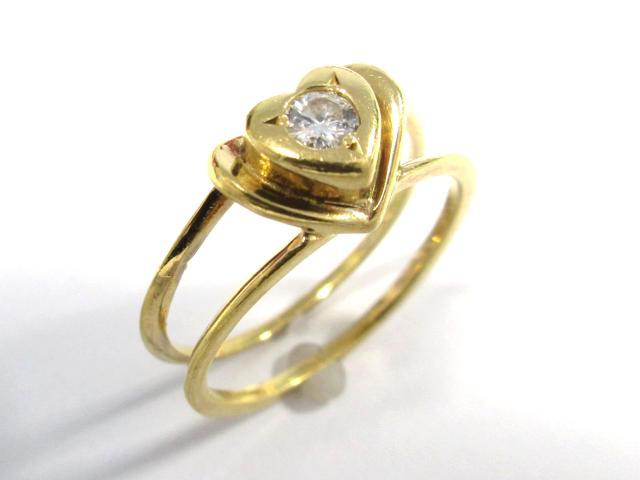 【中古】ジュエリー ハートモチーフダイヤモンドリング レディース K18YG(750) イエローゴールド ダイヤモンド0.1ct ゴールド | JEWELRY リング ハートモチーフダイヤリング 2.68g K18 18K 18金 ダイヤ ダイヤモンド 美品 ブランドオフ BRANDOFF 美品 ボーナス