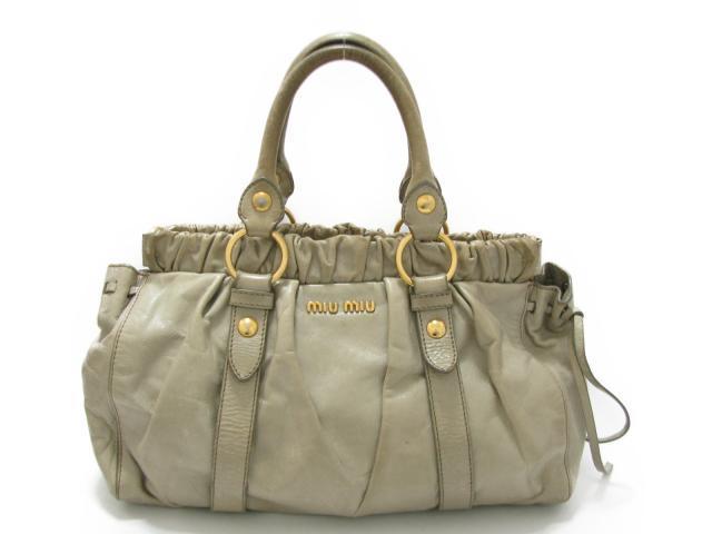 【中古】ミュウミュウ ハンドバッグ レディース レザー シルバーグリーン | miu miu ハンドバッグ バッグ バック BAG 鞄 カバン ブランドバッグ ブランド ブランドオフ BRANDOFF