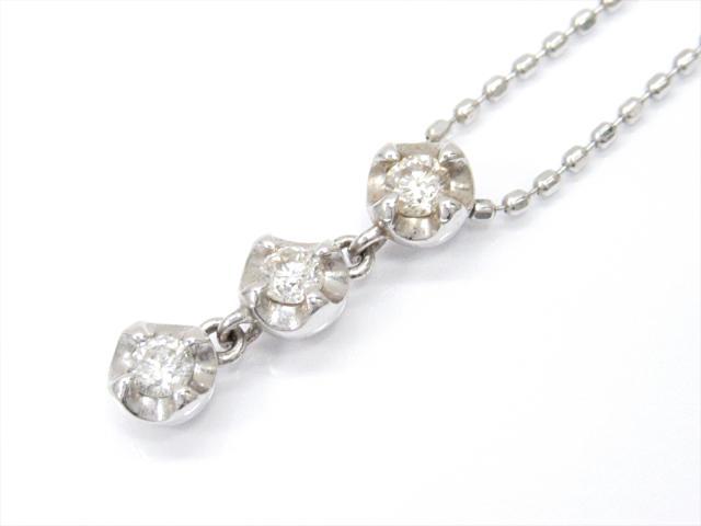 【中古】ジュエリー ダイヤモンドネックレス レディース K18WG(750) ホワイトゴールドxダイヤモンド(0.15ct)   JEWELRY ネックレス K18 18K 18金 ダイヤ ダイヤモンド 美品 ブランドオフ BRANDOFF 美品 ボーナス