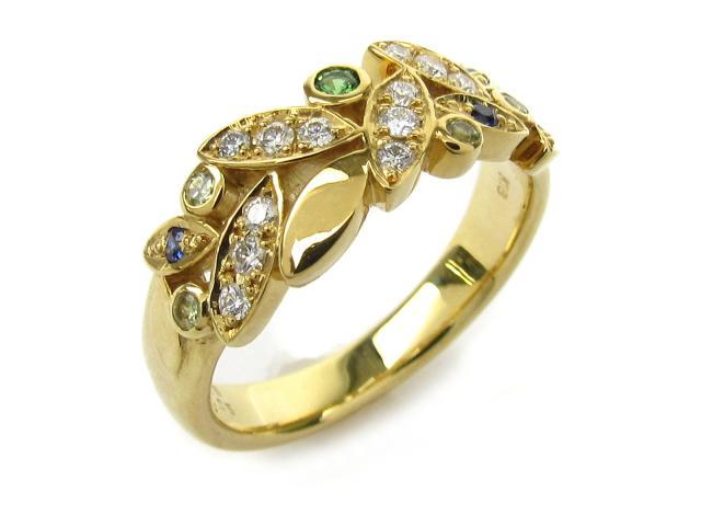 【中古】【送料無料】ジュエリー ダイヤモンド グリーンガネット サファイア リング 指輪 レディース K18 x グリーンガネット0.03 0.05ct x ダイヤモンド0.15ct x サファイア0.05ct | JEWELRY リング Ring 指輪 アクセサリー ブランドオフ BRANDOFF 美品 ボーナス