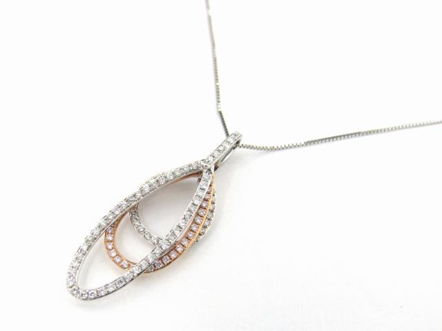 【中古】【送料無料】ジュエリー ダイヤモンド ネックレス レディース K18WG(750) ホワイトゴールド x K18YG(イエローゴールド) x ダイヤモンド0.40ct | JEWELRY ネックレス K18 18K 18金 ダイヤ ダイヤモンド 美品 ブランドオフ BRANDOFF 美品 ボーナス