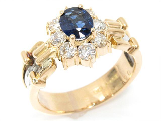 【中古】【送料無料】ジュエリー サファイアリング 指輪 レディース K18YG(750) イエローゴールドxPT900(プラチナ)xサファイア(0.64ct)xダイヤモンド(石目なし) | JEWELRY リング Ring 指輪 アクセサリー ブランドオフ BRANDOFF 美品 ボーナス