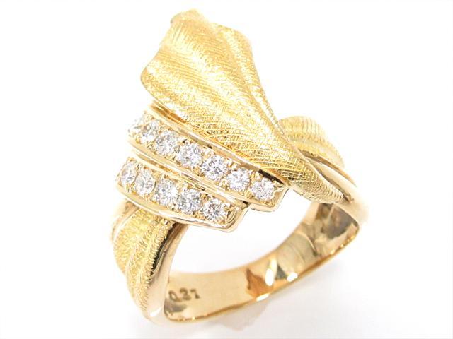 【中古】【送料無料】ジュエリー ダイヤモンドリング 指輪 レディース K18YG(750) イエローゴールドxダイヤモンド(0.31ct) | JEWELRY リング リング K18 18K 18金 ダイヤ ダイヤモンド 美品 ブランドオフ BRANDOFF 美品 ボーナス
