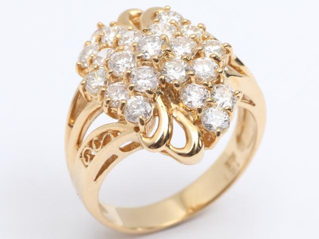 【中古】【送料無料】ジュエリー ダイヤモンド リング 指輪 レディース K18YG(750) イエローゴールド x ダイヤモンド (1.51ct) | JEWELRY リング リング K18 18K 18金 ダイヤ ダイヤモンド 美品 ブランドオフ BRANDOFF 美品 ボーナス