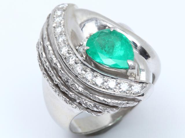 【中古】【送料無料】ジュエリー エメラルド ダイヤモンド リング 指輪 レディース PT900 プラチナ x エメラルド(2.20ct) x ダイヤモンド(0.57ct) | JEWELRY リング Ring 指輪 アクセサリー ブランドオフ BRANDOFF 美品 ボーナス