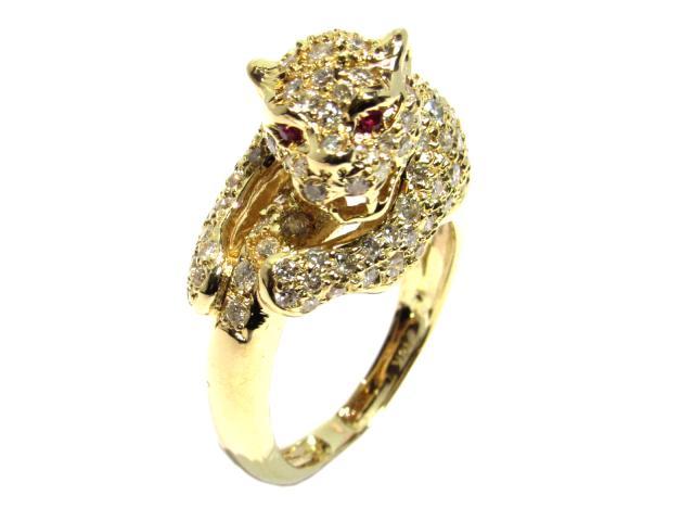 【中古】ジュエリー ダイヤモンドリング レディース 18KYG(750)イエローゴールド ゴールド×クリア×レッド | ブランドオフ BRANDOFF ボーナス