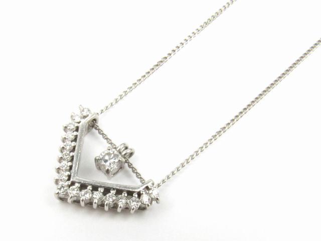 【中古】【送料無料】ジュエリー ダイヤモンド ネックレス レディース PT850 プラチナ x ダイヤモンド(0.20ct 0.13ct) | JEWELRY ネックレス ダイヤ ダイヤモンド 美品 ブランドオフ BRANDOFF 美品 ボーナス