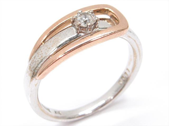 【中古】【送料無料】ジュエリー La verite ダイヤモンドリング 指輪 レディース K18WG(750) ホワイトゴールドxK18PG(750)ピンクゴールドxダイヤモンド(0.11ct) | JEWELRY リング ダイヤ RING アクセサリー ブランドオフ BRANDOFF 美品 ボーナス