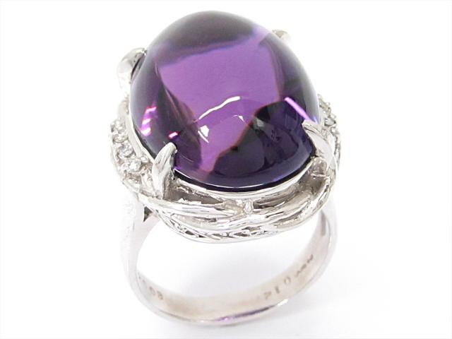 【中古】【送料無料】ジュエリー アメジストリング 指輪 レディース PT900 プラチナxアメジスト(20.03ct)xダイヤモンド(0.12ct) | JEWELRY リング リング ダイヤ ダイヤモンド 美品 ブランドオフ BRANDOFF 美品 ボーナス