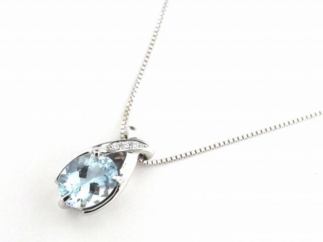 【送料無料】ジュエリー アクアマリン ダイヤモンド ネックレス レディース K18WG(750) ホワイトゴールド x アクアマリン1.56ct x ダイヤモンド0.02ct | JEWELRY ネックレス プレゼント 入園式 入学式 結婚式 シンプル ブランドオフ BRANDOFF ボーナス